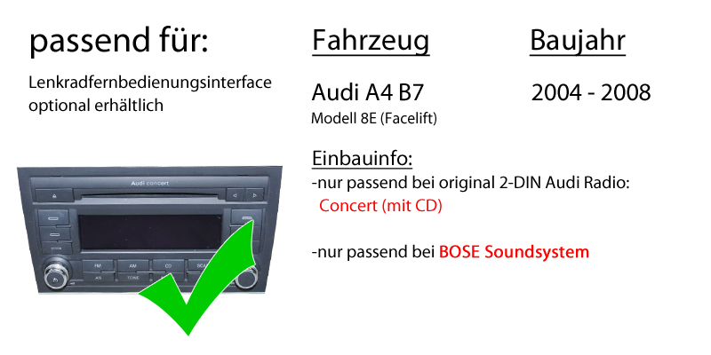 audi a4 b7 bose concert jvc 2din autoradio radio. Black Bedroom Furniture Sets. Home Design Ideas