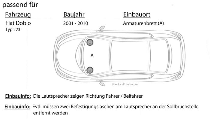 Pioneer Front auto altavoces componentes para Fiat Doblo tipo 223-2000-2010