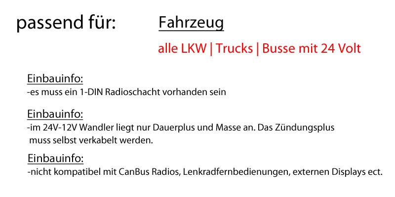 LKW Bus Truck 24V 24 VOLT - Autoradio Radio Kenwood KDC-X5100BT ...