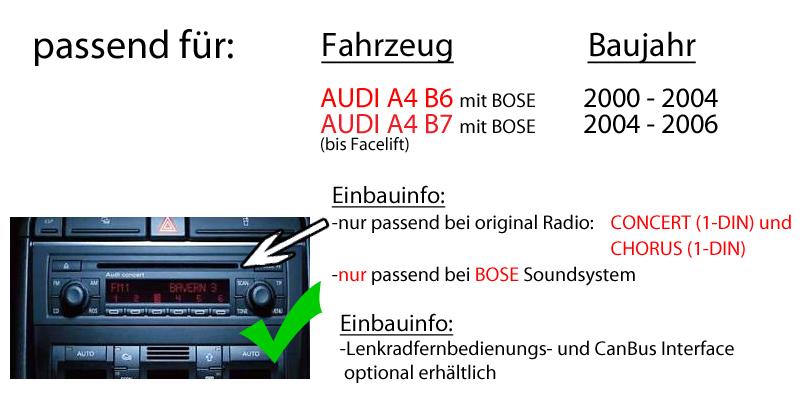 AUDI A4 B6 B7 BOSE - Autoradio Radio JVC KD-R794BT | Bluetooth