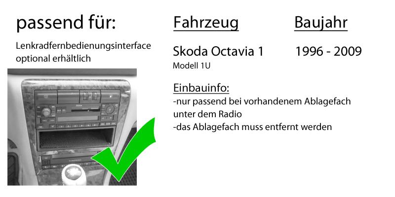 Einbauset f/ür Skoda Octavia 1 1U Autoradio Radio kompatibel mit Kenwood DPX-5100BT 2-DIN Bluetooth USB Apple Android Autoradio PKW KFZ Paket Einbauzubeh/ör JUST SOUND best choice for caraudio
