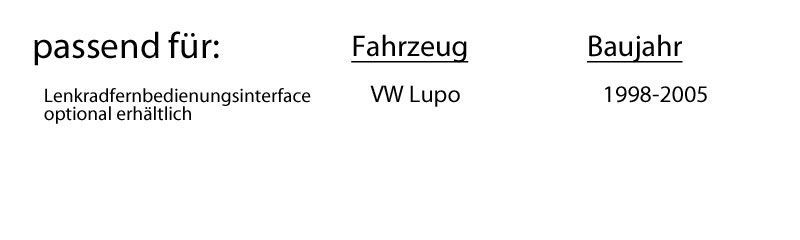 VW Lupo - JVC KD-R469E - CD/MP3/USB Autoradio - Einbauset